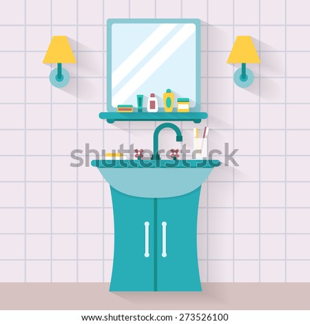 cartoon bathroom sink and mirror. Interesting And Bathroom Sink With Mirror Bottle Jar Of Cream Soap Toothpaste Flat With Cartoon Sink And Mirror T