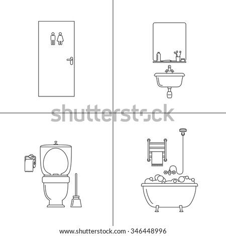 Bathroom Thin Drawing Vector Line Illustrations Of Hygiene With Bath Toilet Sink And