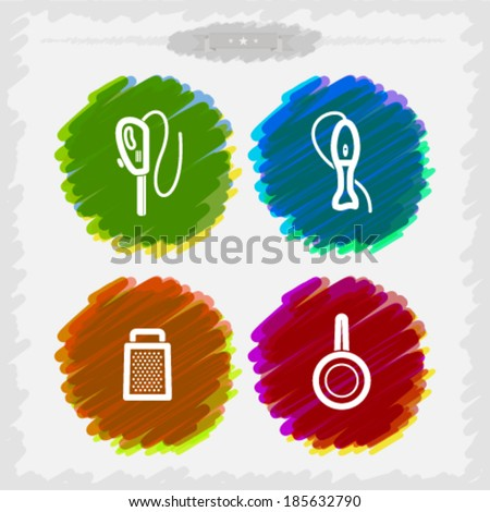 Bathroom Utensils and other related everyday things, from left to right -  Electric knife, Blender, Grate, Frying pan.  - stock vector