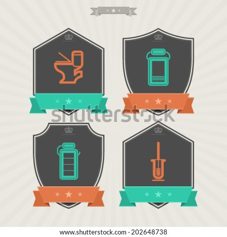 Bathroom Utensils and other related everyday things, from left to right -  Toilet, Towel, Toilet paper, Toilet brush.  - stock vector