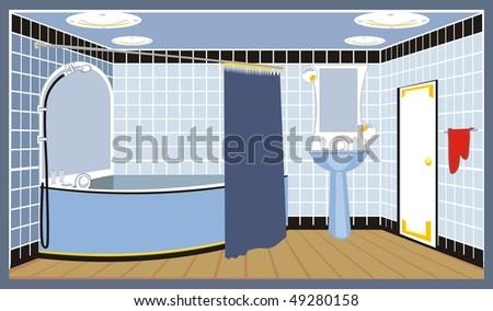 bathroom vector - stock vector