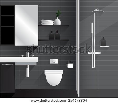 Bathroom : Vector Illustration - stock vector