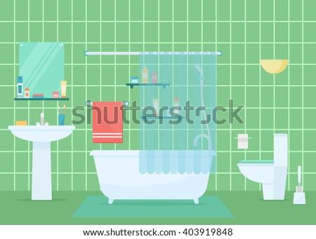 Bathroom vector illustration. Bathroom design. Bathroom interior in flat style. Modern bathroom. Bathroom elements isolated on background. Bathroom architecture. - stock vector