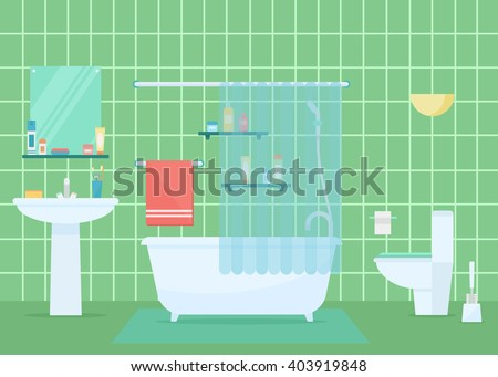 Bathroom Vector Illustration Interior Or Architecture In Flat Style Elements Isolated On