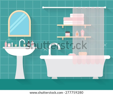 Bathroom with furniture and long shadows. Flat style vector illustration. - stock vector