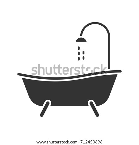 Bathtub Glyph Icon Silhouette Symbol Bath Stock Vector ...