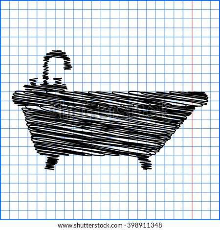 Bathtub Icon with pen effect on paper