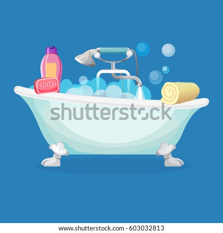 Bathtub Isolated Full Of Foam With Bubbles, Common And Shower Taps, Pink  Soap,
