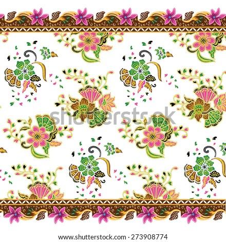 Batik pattern. Art design background vintage fabric. - stock vector