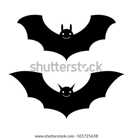 Bats black and white halloween isolated