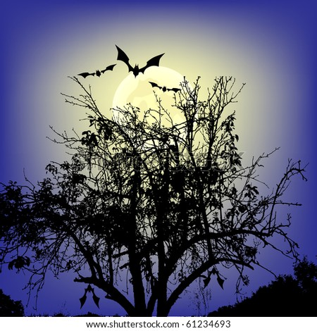 Bats flying over tree - stock vector