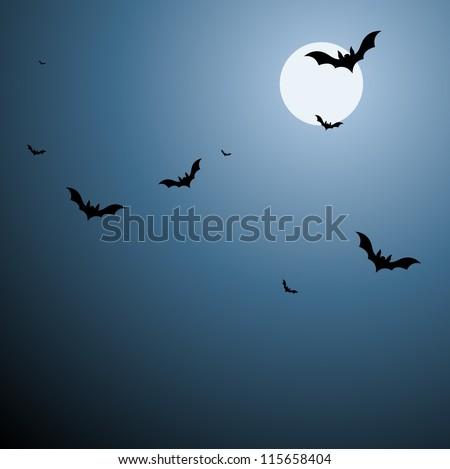 Bats in Sky Background in Vector - stock vector
