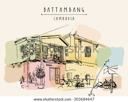 "Battambang, Cambodia, Southeast Asia. Residential house and cafe in old town. French colonial architecture. Touristic sketchy hand drawn postcard with ""Battambang, Cambodia"" hand lettering"