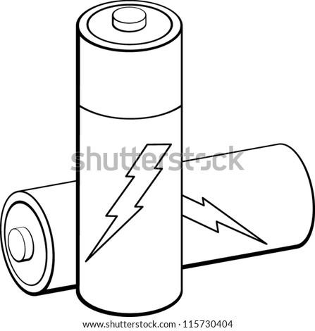 batteries - stock vector