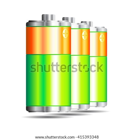 Batteries on a white background.Vector