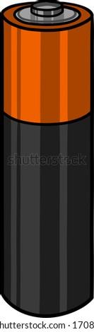 Battery AA illustration, sketch style. - stock vector