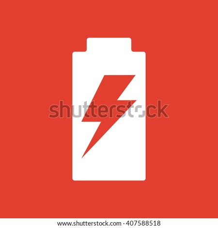 Battery Charge icon on red background. - stock vector