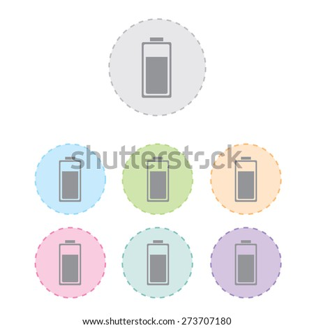 battery charge icon set. vector illustration - stock vector