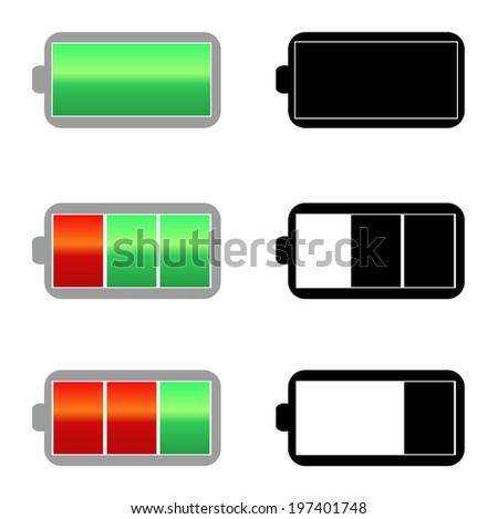 Battery charge icons signs color and monochrome. See vector version