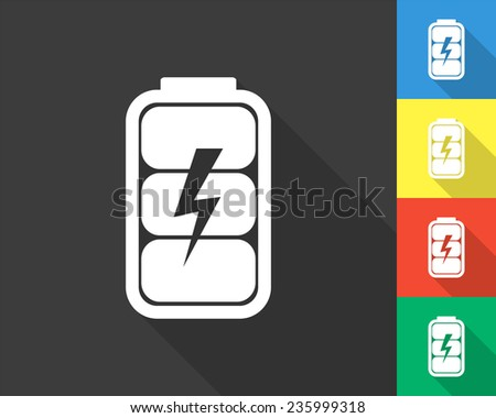 battery charge level indicator icon - gray and colored (blue, yellow, red, green) vector illustration with long shadow - stock vector