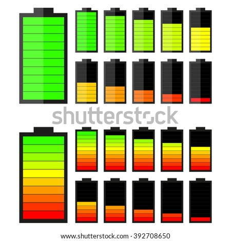 Battery charge level indicator icons, vector - stock vector