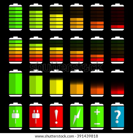 Battery charge level indicator icons, vector illustration - stock vector