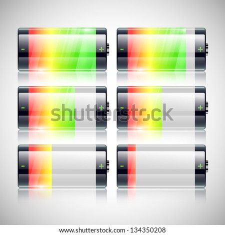 Battery charge status vector illustration set - stock vector