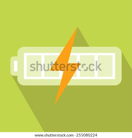 Battery Charger Icon. Vector illustration. Elements for design. Battery Charger Icon on light green background. Battery Charger Icon with Long Shadow. Battery Energy Icon. Electronics Battery Icon. - stock vector