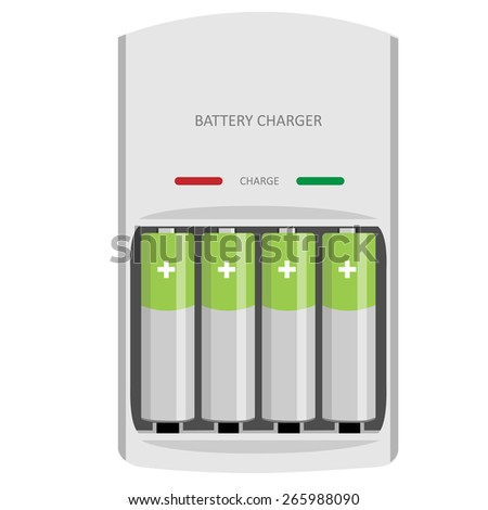 Battery charger with finger batteries and indicators low, high vector isolated - stock vector