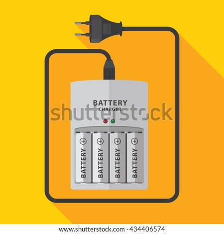 Battery charger with finger batteries vector flat design. - stock vector