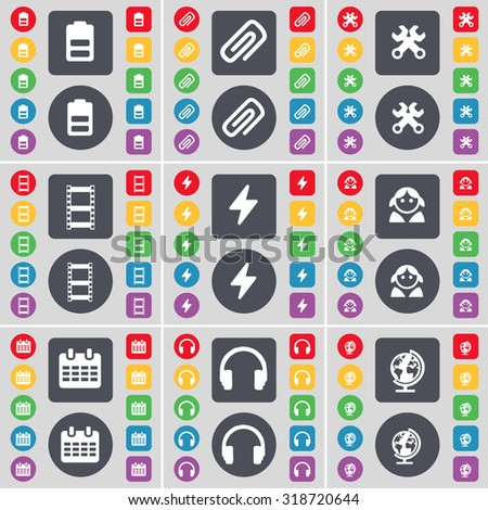 Battery, Clip, Wrench, Negative films, Flash, Avatar, Calendar, Headphones, Globe icon symbol. A large set of flat, colored buttons for your design. Vector illustration - stock vector