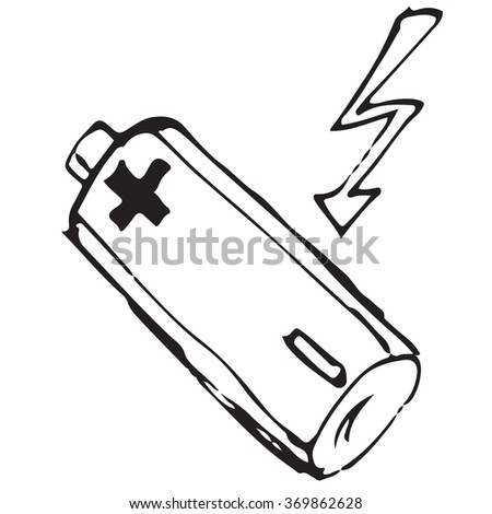 Battery doodle - stock vector