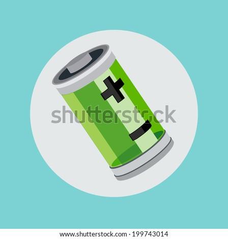 battery flat design - stock vector