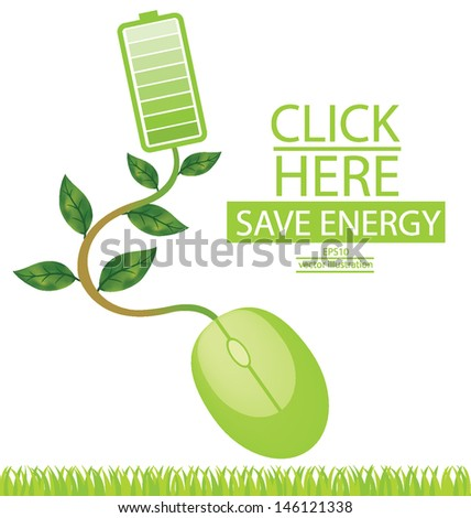 Battery. Green energy. Computer mouse. Go green. Save world. vector illustration. - stock vector