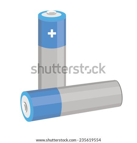 Battery icon, battery vector, battery isolated, blue batteries - stock vector