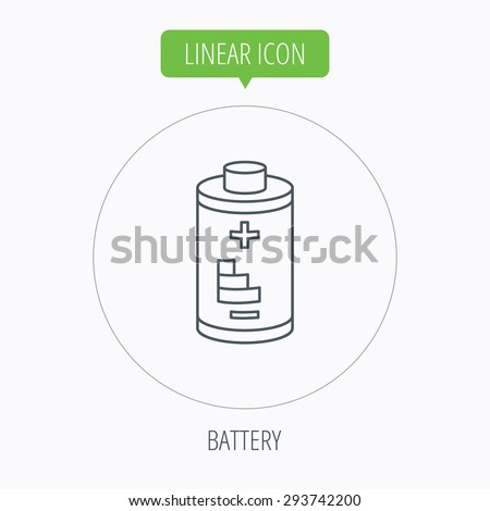 Battery icon. Electrical power sign. Rechargeable energy symbol. Linear outline circle button. Vector - stock vector