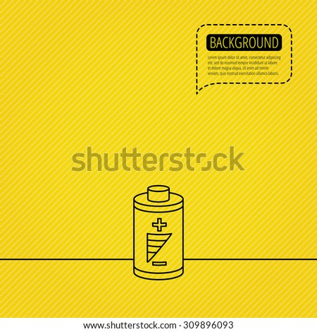 Battery icon. Electrical power sign. Rechargeable energy symbol. Speech bubble of dotted line. Orange background. Vector