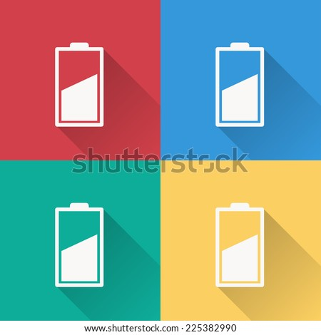 battery icon , flat design on 4 color background - stock vector