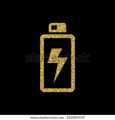 battery icon, Gold glitter icon - stock vector