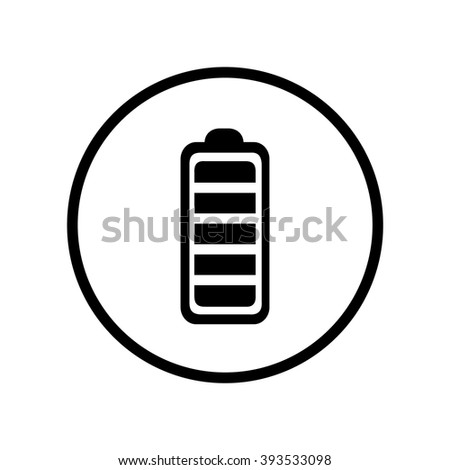 Battery icon in circle . Vector illustration - stock vector
