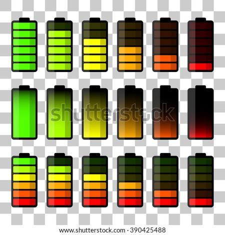 Battery icon set. Set of battery charge level indicators. Vector illustration - stock vector