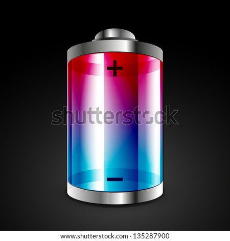 Battery icon. Vector conceptual design - stock vector