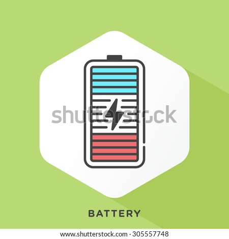 Battery icon with dark grey outline and offset flat colors. Modern style minimalistic vector illustration for tips to increase battery life of smart devices - stock vector