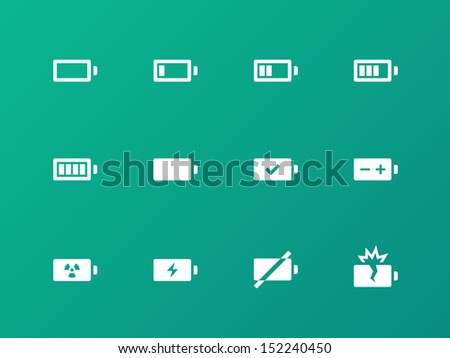 Battery icons on green background. Vector illustration. - stock vector