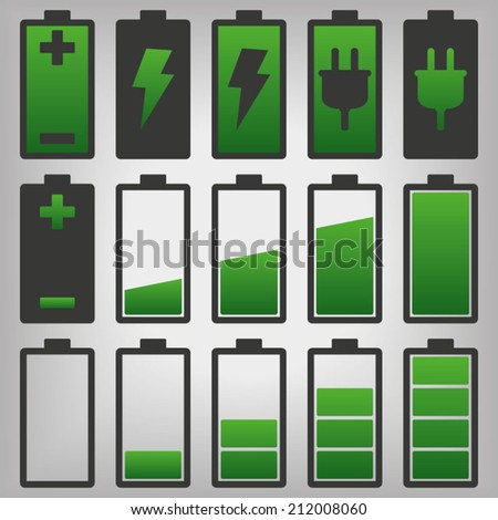Battery Icons Set - stock vector