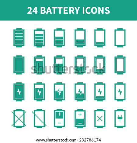 Battery icons,symbol,sign in flat style. Charge level indicators. Vector illustration. - stock vector