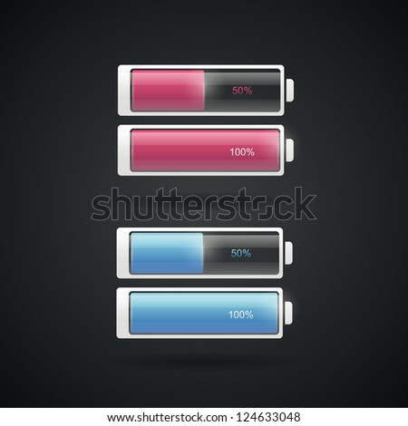 Battery levels set in two colors