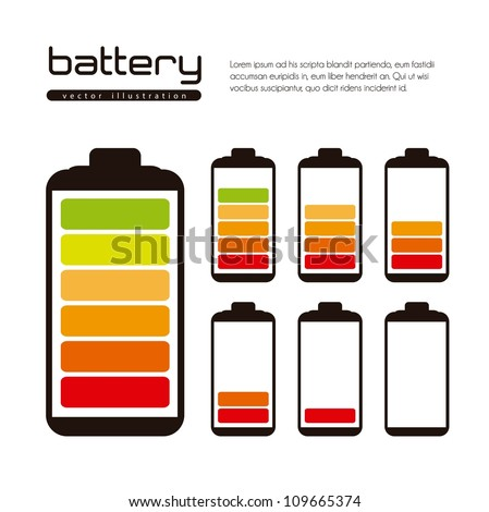 Battery load illustration isolated on white background, vector illustration - stock vector