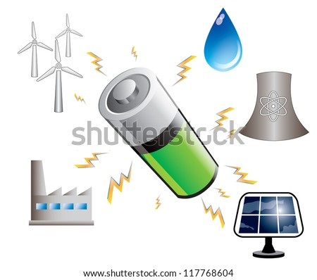 Battery power accumulation and energy sources abstract concept, vector illustration - stock vector