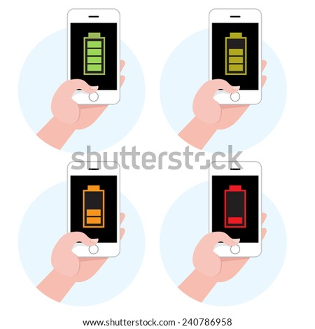 Battery symbol on smartphone icon set - stock vector